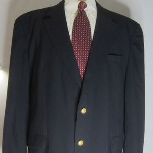 Jos A Bank Mens 50R Navy Blue Wool Blazer Jacket